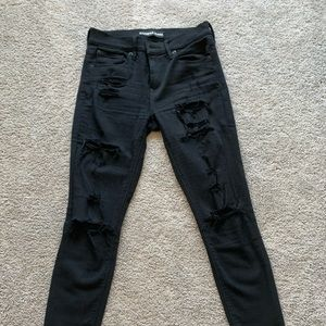 Black Express Ripped Skinny Jeans Fringed Bottoms